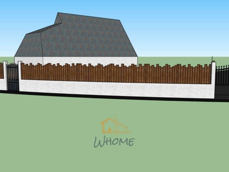 Whome, courtier en travaux - Clôture bois sur maçonnerie et portail en ferronnerie