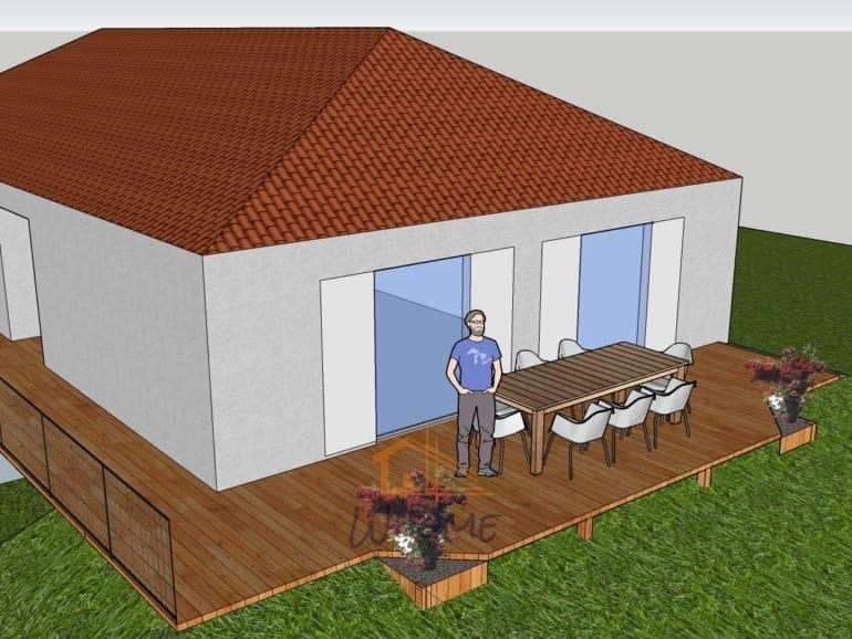 Whome, courtier en travaux - Transformation et extension d'une ancienne terrasse carrelée par des lames composte