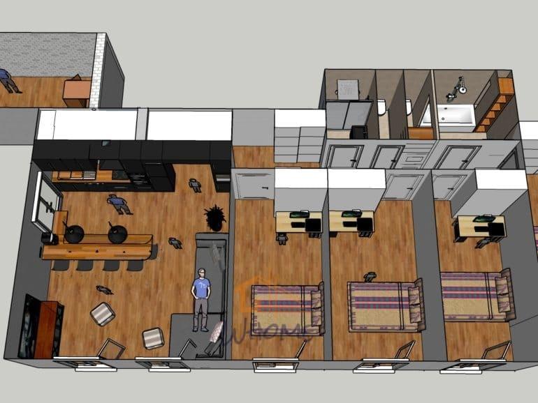 Whome, courtier en travaux - Appartement restructuré avec cuisine déplacée, nouvelle pièce, parquet bois, table sur mesure, mise aux normes électriques, rénovation salle de bain - 78
