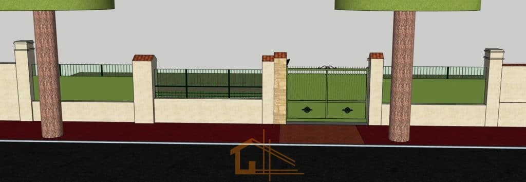 plan 3D - projection d'un ensemble clôture et portail