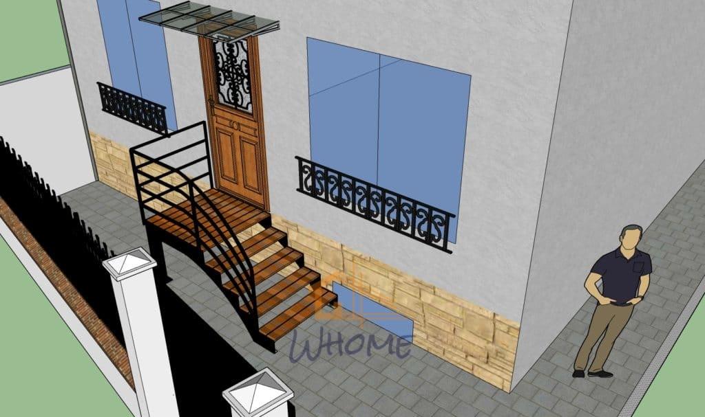whome - courtier en travaux - escalier portillon béton imprimé - chatou