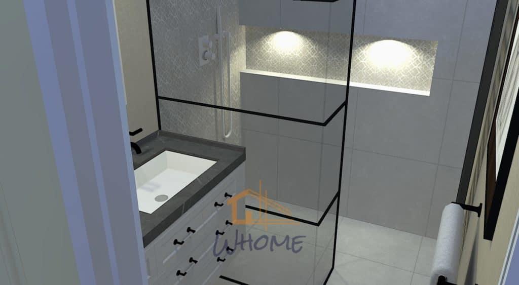 Alcôve de douche éclairée