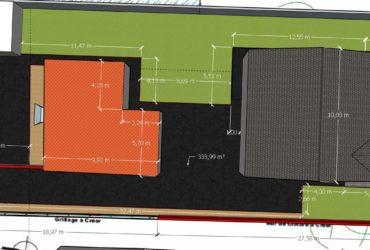 Terrassement avec finition bitume d'une propriété à deux maisons avec intégration de clôture et portails