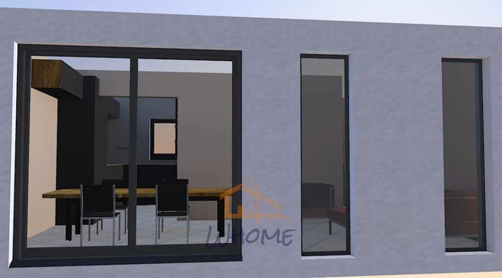 Rénovation d'un pavillon avec fenêtres pleines hauteur
