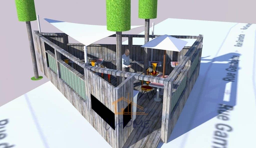 Projection 3D de la terrasse en bois